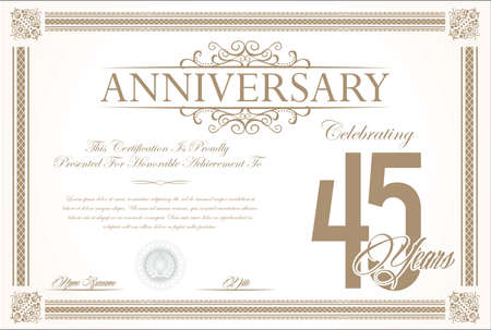 45: Anniversary retro vintage background vector 45 years
