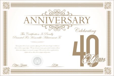 40: Anniversary retro vintage background vector 40 years Illustration