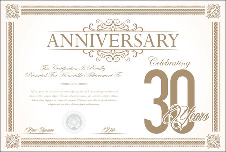 30 years: Anniversary retro vintage background vector 30 years Illustration