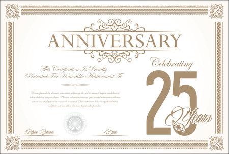 Anniversary retro vintage background vector 25 years