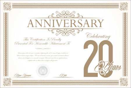 20 years: Anniversary retro vintage background vector 20 years