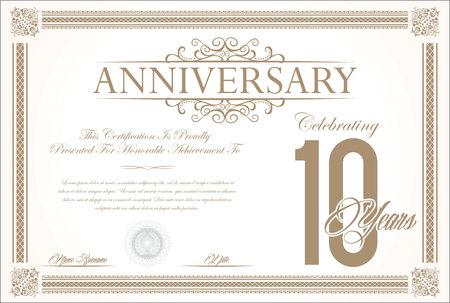 10 years: Anniversary retro vintage background vector 10 years Illustration