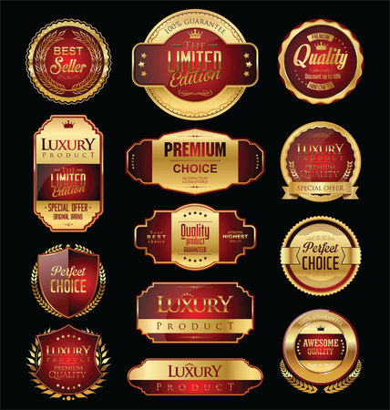 royal background: Premium and luxury golden retro badges and labels collection