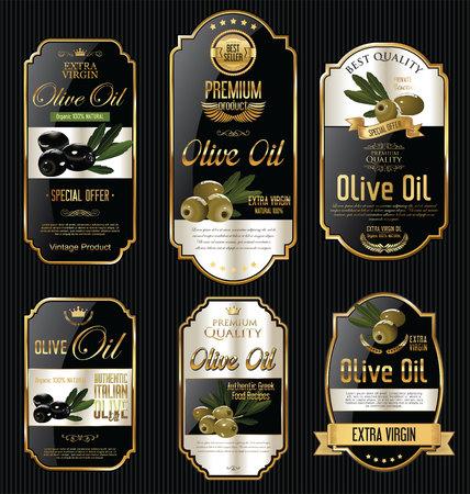 El aceite de oliva retro cosecha de oro y negro etiquetas colección Foto de archivo - 62284681