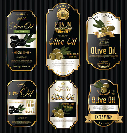 Olive oil retro vintage gold and black labels collection Banco de Imagens - 62284681