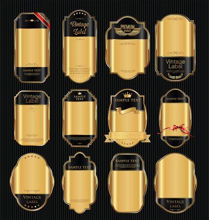 vente d'or labels collection de design rétro vintage
