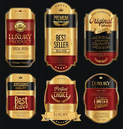 black gold: Golden sale labels retro vintage design collection