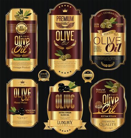 Olive oil retro vintage gold and black labels collection Vetores