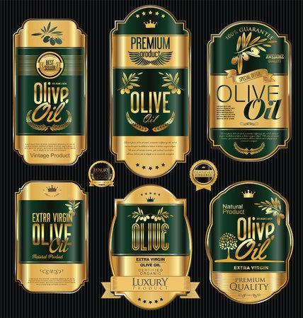 El aceite de oliva retro cosecha de oro y negro etiquetas colección Foto de archivo - 62285430