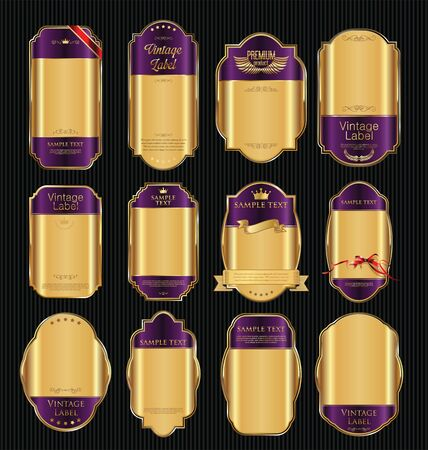 purple and gold: Golden sale labels retro vintage design collection