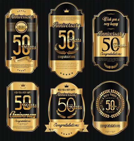Anniversary golden retro vintage labels collection 50 years