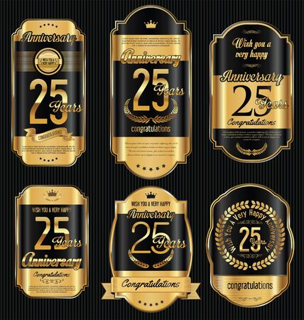jubilees: Anniversary golden retro vintage labels collection 25 years