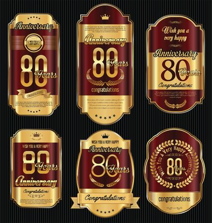 80 years: Anniversary golden retro vintage labels collection 80 years Illustration