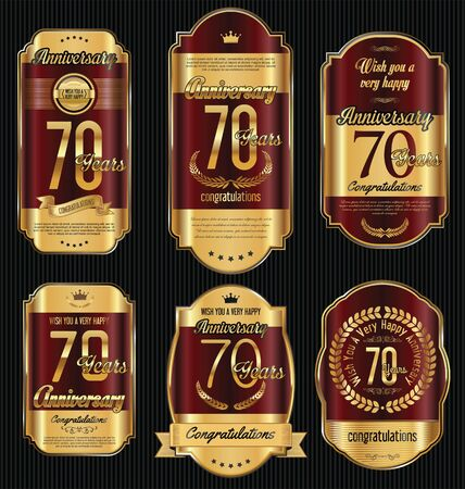 gold age: Anniversary golden retro vintage labels collection 70 years Illustration