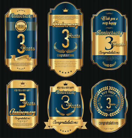 commemoration: Anniversary golden retro vintage labels collection 3 years