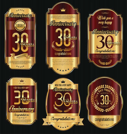 30 years: Anniversary golden retro vintage labels collection 30 years