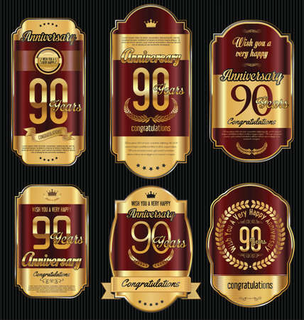 90 years: Anniversary golden retro vintage labels collection 90 years