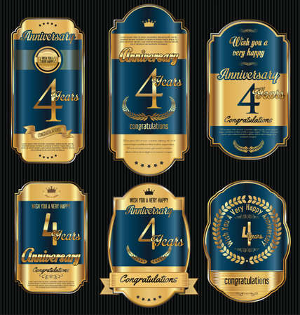 jubilees: Anniversary golden retro vintage labels collection 4 years