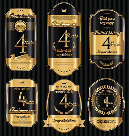 gold age: Anniversary golden retro vintage labels collection 4 years