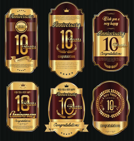 10 years: Anniversary golden retro vintage labels collection 10 years