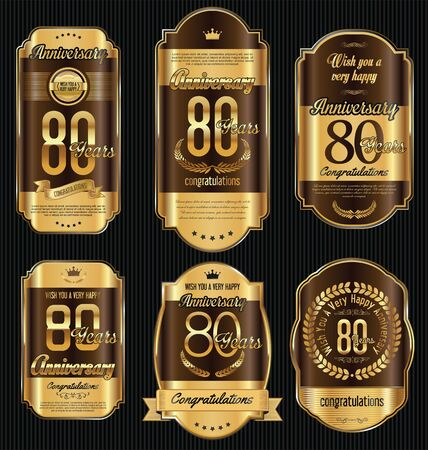 jubilees: Anniversary golden retro vintage labels collection 80 years Illustration