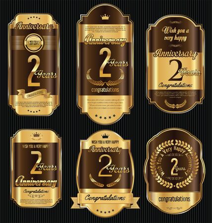 Anniversary golden retro vintage labels collection 2 years
