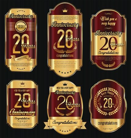 jubilees: Anniversary golden retro vintage labels collection 20 years
