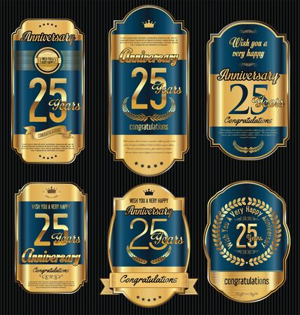 commemoration: Anniversary golden retro vintage labels collection 25 years