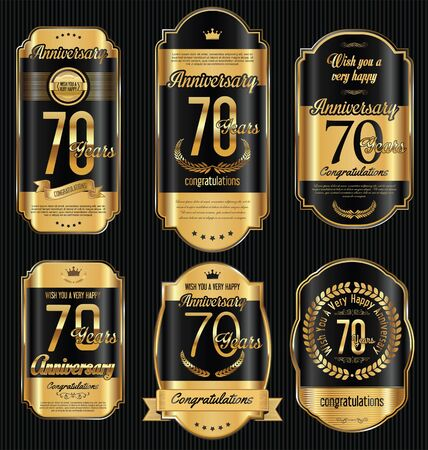 jubilees: Anniversary golden retro vintage labels collection 70 years Illustration