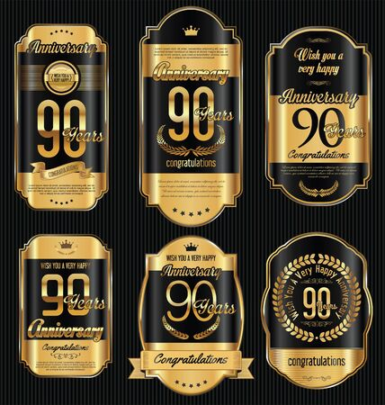 Anniversary golden retro vintage labels collection 90 years