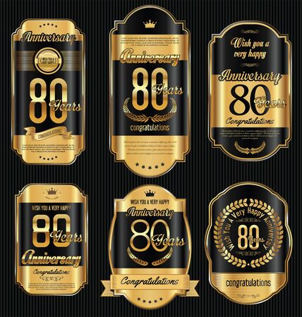 Anniversary golden retro vintage labels collection 80 years Illustration