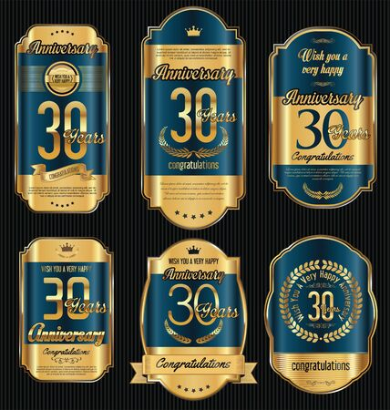 jubilees: Anniversary golden retro vintage labels collection 30 years