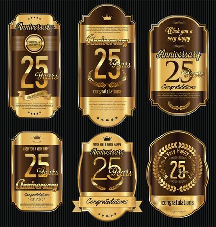 25: Anniversary golden retro vintage labels collection 25 years