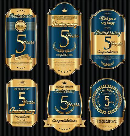 Anniversaire vintage rétro or labels collection 5 ans