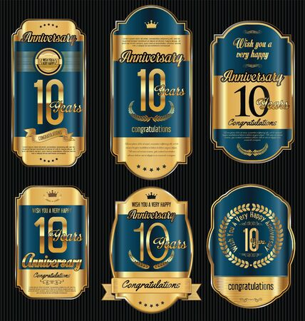 Anniversary golden retro vintage labels collection 10 years