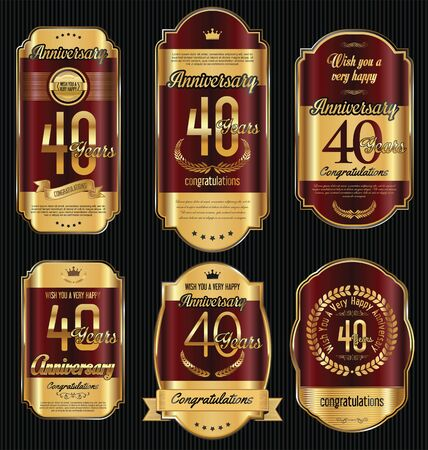 jubilees: Anniversary golden retro vintage labels collection 40 years