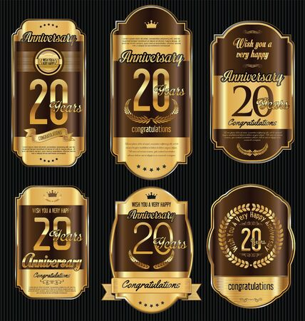 20 years: Anniversary golden retro vintage labels collection 20 years