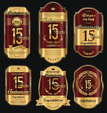 15: Anniversary golden retro vintage labels collection 15 years