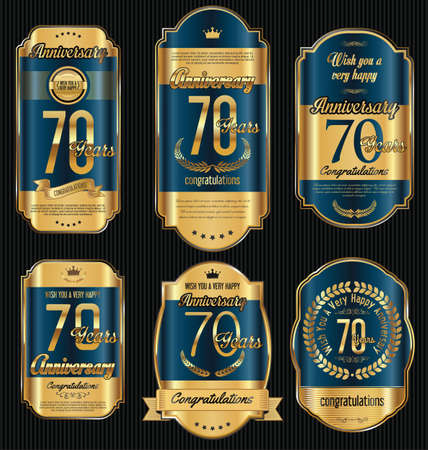 Anniversary golden retro vintage labels collection 70 years Illustration