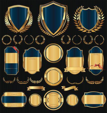Schermi dorati corone di alloro e distintivi collezione