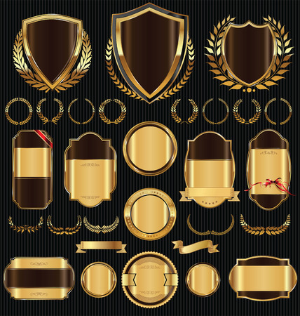glassy: Golden shields laurel wreaths and badges collection