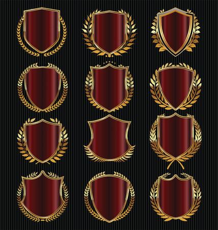 shielding: Retro vintage golden laurel wreath and shields collection