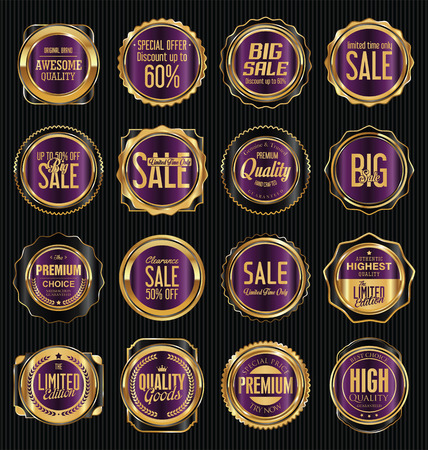 Golden retro vintage labels collection