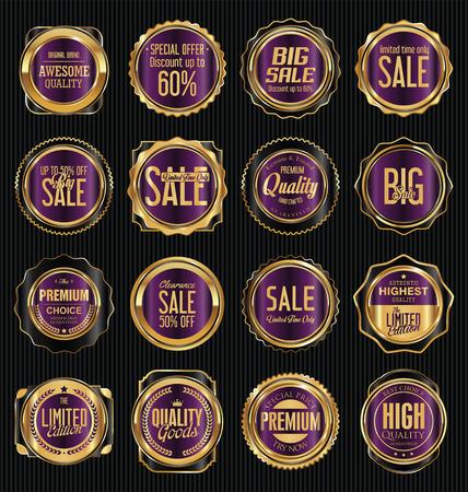 Golden retro vintage labels collection
