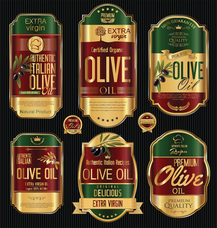 Olive oil retro vintage gold and black labels collection