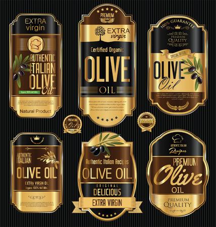 L'huile d'olive collection d'or vintage et étiquettes noires rétro Vecteurs
