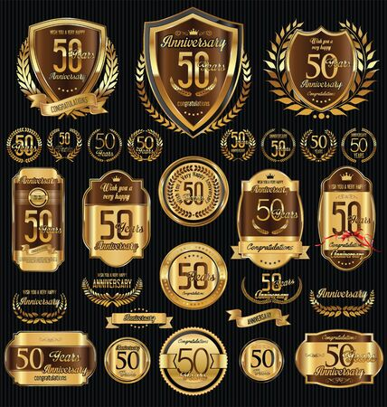 number 50: Anniversary golden shields laurel wreaths and badges collection Illustration