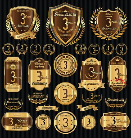 Anniversary golden shields laurel wreaths and badges collection Illustration