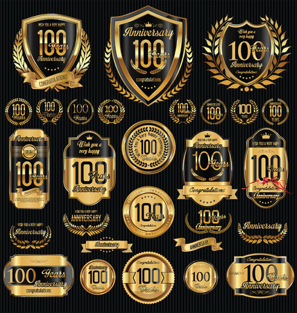 Anniversary golden shields laurel wreaths and badges collection Vettoriali