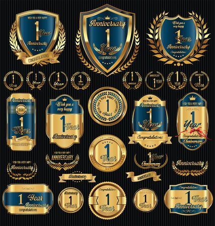 gold age: Anniversary golden shields laurel wreaths and badges collection Illustration